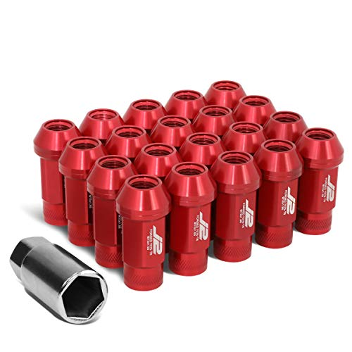 J2 Engineering LN-T7-014-15-RD Red 7075 Aluminum M12X1.5 20Pcs L: 50mm Open End Lug Nut w/Socket Adapter