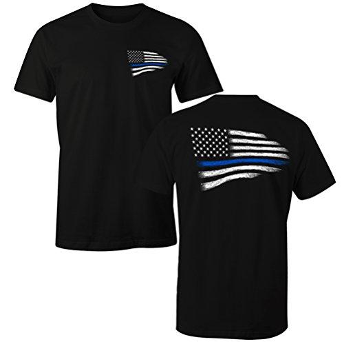 Fantastic Tees Thin Blue Line Police USA Flag Men's T Shirt (2XL)