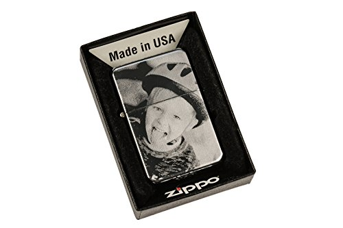 ZIPPO Feuerzeug mit EINSEITIGER Wunsch Gravur | Zippo graviert mit Deinem Foto und Text | Chrome Hochglanz poliert | personalisiert + individuell