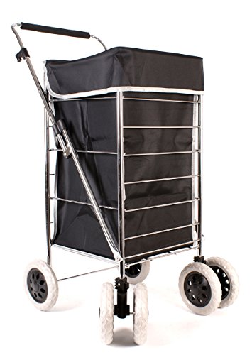 Premium 6 Wheel Swivel Shopping Trolley with Adjustable Handle Plain Black with Grey Trim
