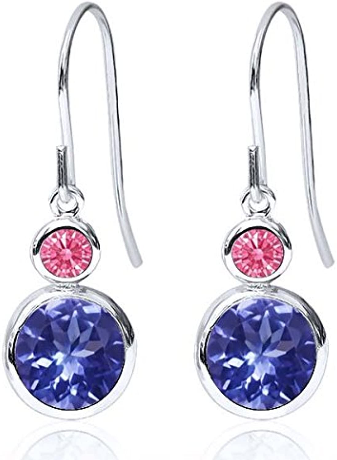 Carlo white bluee 925 Sterling Silver Earrings Made With Swarovski Zirconia