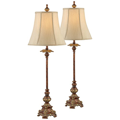 Juliette Traditional Buffet Table Lamps Set of 2 Light Bronze Bell Shade for Dining Room - Regency Hill