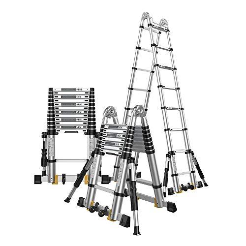 WXQIANG Teleskopleiter, Faltbare Leiter, Mehrzweck-Engineering-Leiter, beweglicher Aluminiumlegierung Schiebeleiter, mit Anti-Rutsch-Support Rod (Size : 2.5m+2.5m=Straight Ladder 5m)