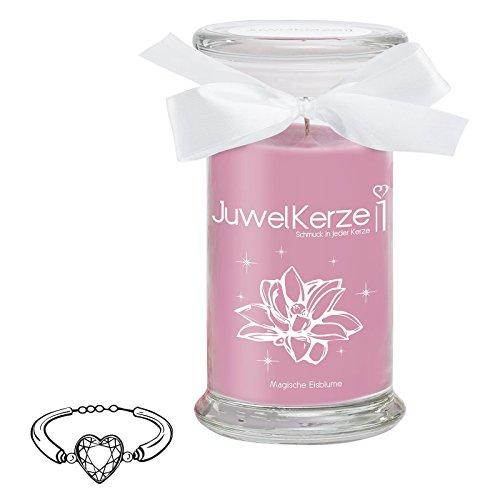 JuwelKerze Magische Eisblume - Kerze im Glas mit Schmuck - Große lila Duftkerze mit Überraschung als Geschenk für Sie (Silber Armband, Brenndauer: 90-120 Stunden)