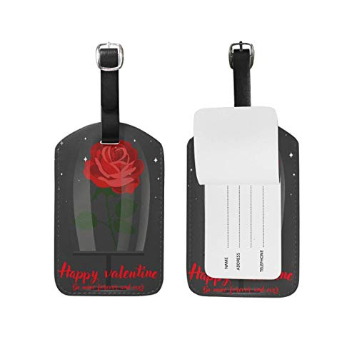 shenguang 2PCS Leather Romantic Red Wine Goblet Luggage Tags Travel Baggage Labels Bag Tag