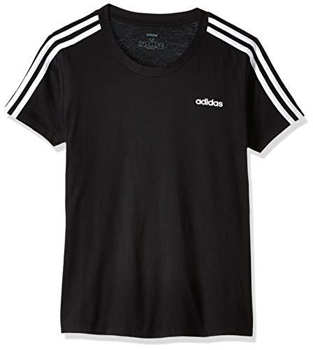 adidas Damen T-Shirt Essentials 3-Streifen Slim, Black/White, M, DP2362