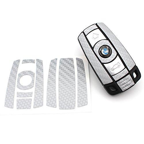 Finest-Folia Schlüssel Folie BB für 3 Tasten Auto Schlüssel (nur Keyless Go) Folien Cover (Anthrazit Carbon)