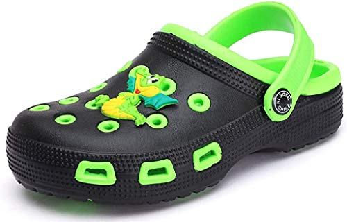 Kinder Clogs Pantoletten Mädchen Jungen Sandalen Slip On Outdoor Flach Hausschuhe Geschlossene Strand Sandale Schuhe Sommer Schwarz(Green) 26 EU/27CN