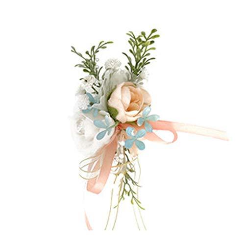 MYW Kunstmatige Bloem Corsage Pols Bloemen Wedding Party Prom Korset Handmade Ribbon (Color : Pink, Size : Corsage)