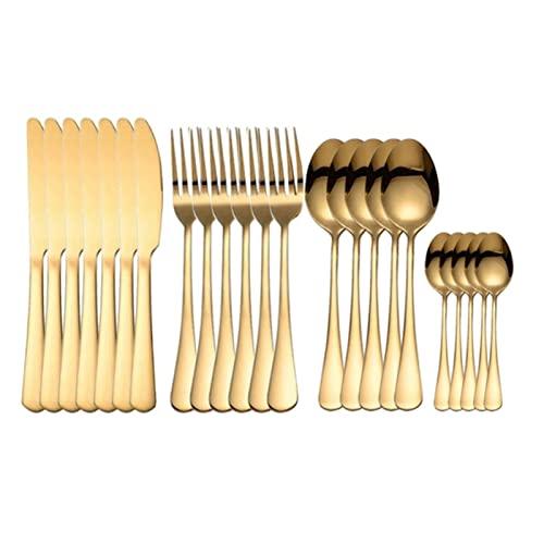 HUAYU Acero Tablewellware de Oro del vajilla 24pcs cuchillería Inoxidable Cuchara Tenedor Cuchillo Set de Inicio de Oro de vajilla Eco Friendly (Color : Golden)
