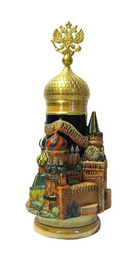 KING Jarra de Cerveza Alemana Moscú 3-D, asa Aguila de Oro, Jarra 0,75 litros
