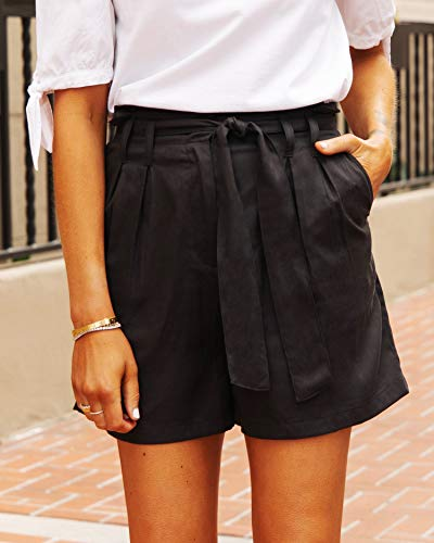 The Drop Women's Black Paperbag-Waist Belted Short by @fashion_jackson