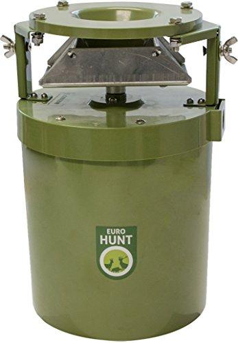 EUROHUNT Futterautomat Light 12V, Automat für Tierfütterung, wetterfest, Wildfutterautomat, 17 x 17 x 27 cm, grün