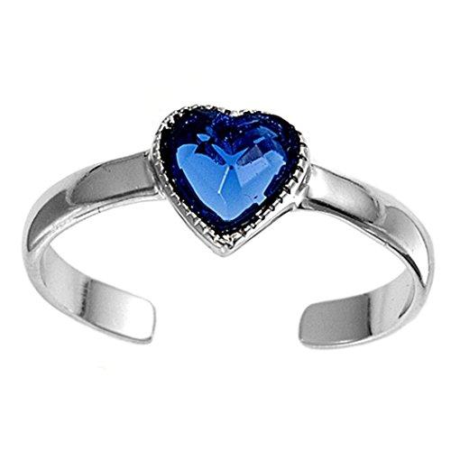 Zehenring aus 925 Sterling Silber als Fußschmuck für Damen, Herren und Mädchen, Größenverstellbar, blauer Zirkonia Herz 2