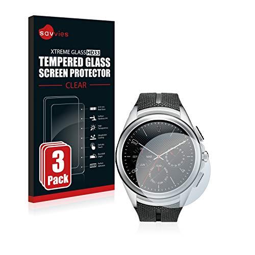 Savvies Panzerglas kompatibel mit LG Watch Urbane 2nd Edition (3 Stück) - Echt-Glas, 9H Härte, Anti-Fingerprint