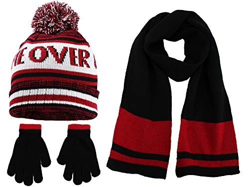 Polar Wear Boys Knit Hat, Scarf And Gloves Set with Words- Red/Black
