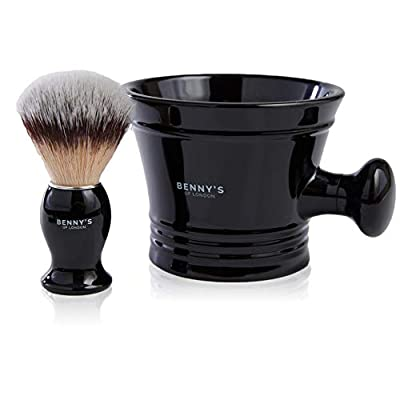 Shaving Brush & Bowl Gift Set – Benny's of London - Special Offer - Men's Gift idea - Our Best Selling Shaving Brush with Acrylic Black Mug for Lathering Shave Soap and Cream