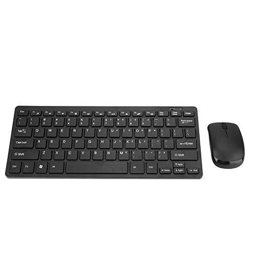 Conjunto de Teclado inalámbrico, Accesorio de Mouse óptico Botón Ultrafino para computadora de Escritorio, computadora portátil, Smart TV, Negro(Black)