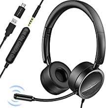 USB Headset with Microphone for PC, Link Dream Noise Cancelling in-Line Audio Mute Controls Office Headset Wired Computer Headset with Microphone for Laptop, Zoom, Call Center, Phone, Meetings