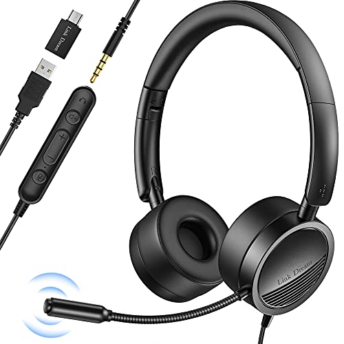 Link Dream USB Headset with Microphone for PC Noise Cancelling in-Line Audio Mute Controls Office Headset Wired Computer Headset with Microphone for Laptop, Zoom, Call Center, Phone, Meetings