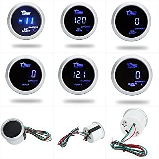 D DOLITY Oil Pressure Gauge Kit 0 to 100 PSI Pointer /& LED Digital 2 52mm Black Dial for Car Truck