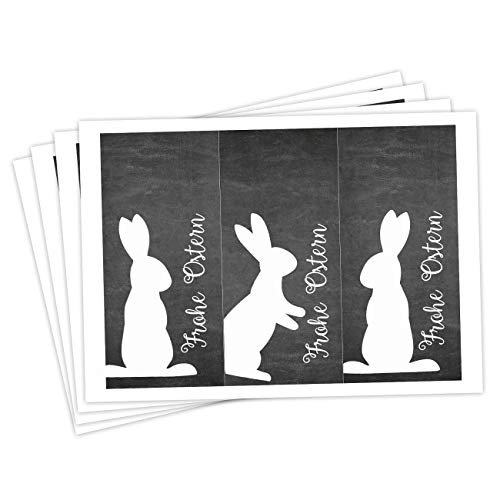 Papierdrachen 12 Oster Aufkleber zum Basteln und Dekorieren - Motiv weiße Osterhasen auf schwarzer Tafelfolie (rechteckig) - Sticker Nr 8 - Ostern 2020