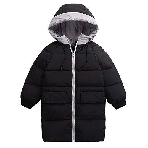 Kobay Kobay Kinder Mädchen Jungen Baby Winter Mäntel Verdickt Kapuzen Kordelzug Colorblock Pocket Baumwolle Jacke(5-6T,Schwarz)