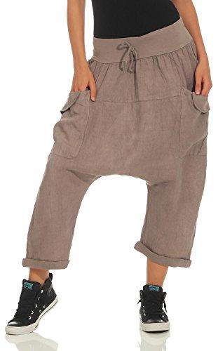 Malito Damen Pumphose aus Leinen   Stoffhose in Unifarben   Freizeithose für den Strand   Capri Hose 6285 (Fango)