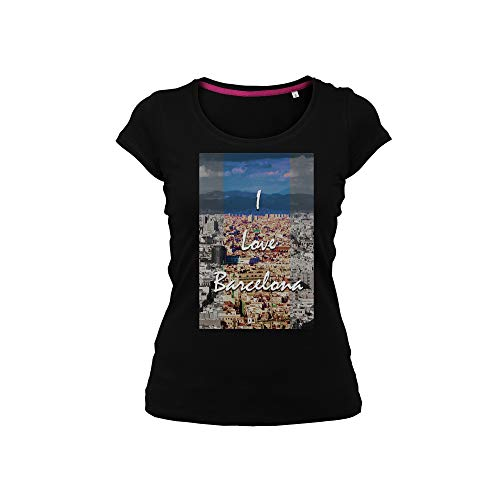 "Wild Soul Tees - Camiseta para mujer, diseño con texto ""I Love Barcelona City Spain Europe"" Negro Negro ( M"