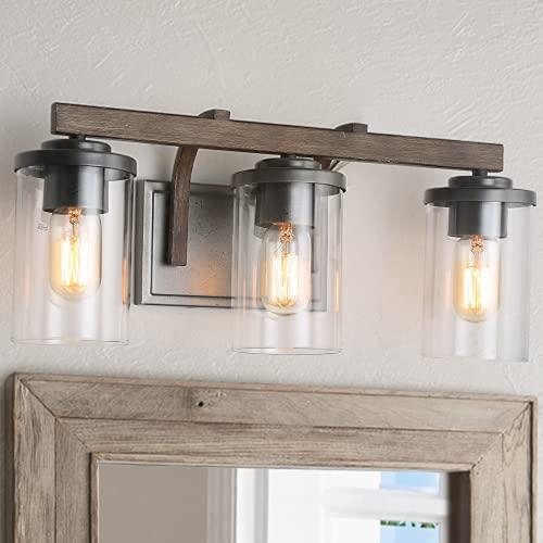 "Farmhouse Bathroom Vanity Light Fixtures, Rustic Vanity Lighting with 3 Clear Glass, Wood Bathroom Fixture Over Mirror, L20"" x H8.7"" x W6.3"""