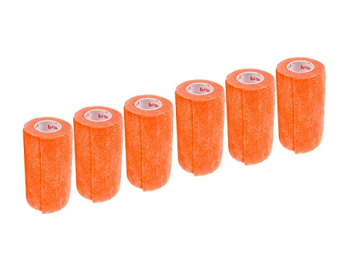 3 Inch Self Adhesive Medical Bandage Wrap Sport Tape (Florescent Orange) (6 Pack) Strong Elastic Self Adherent Cohesive First Aid Sport Flex Rolls for Wrist Ankle Knee Sprains and Swelling