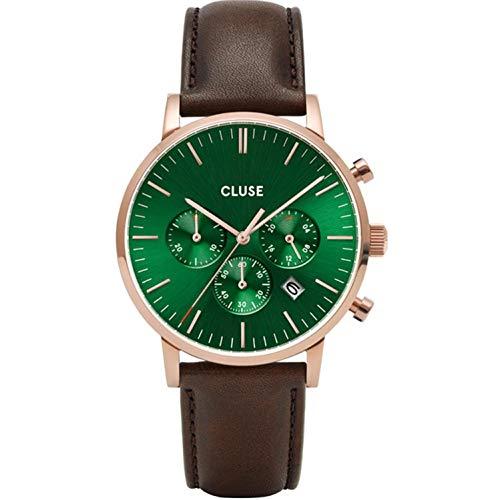 Cluse Herren-Uhren Analog Quarz One Size Braun/grün Kalbsleder 32010372
