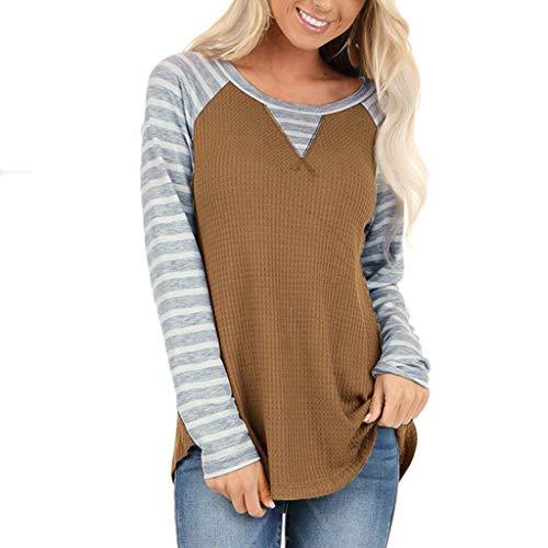 LEXUPE Damen V-Ausschnitt Kariert Bluse 3/4 Ärmel Kurzarm Reißverschluss Tunika Tops Longshirt Hemd T-Shirt(A-Kaffee,X-Large)