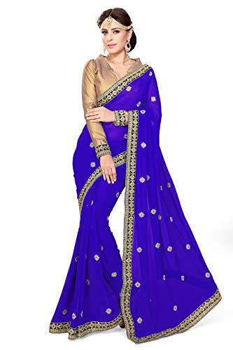 Mirchi Fashion Mirchi Fashion Damen Indian Saree Partei-Abnutzungs Kleid mit Ungesteckt Oberteil/Top Sari