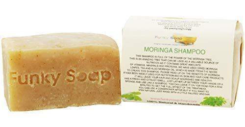 Funky Soap Moringa Shampoo Barre, 100% Naturel Artisanal, 1 Barre de 120g