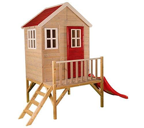 Wendi Toys Kinderspielhaus Kinderhaus Kinder-Gartenhaus Biber Spielturm inkl. Veranda & Rutsche