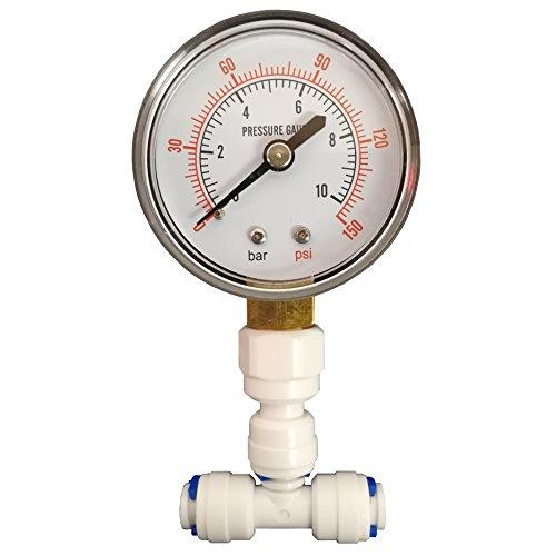Finerfilters Manometer für Wasser-RO & Heimische Umkehrosmoseanlagen mit 0,6 cm-Anschluss
