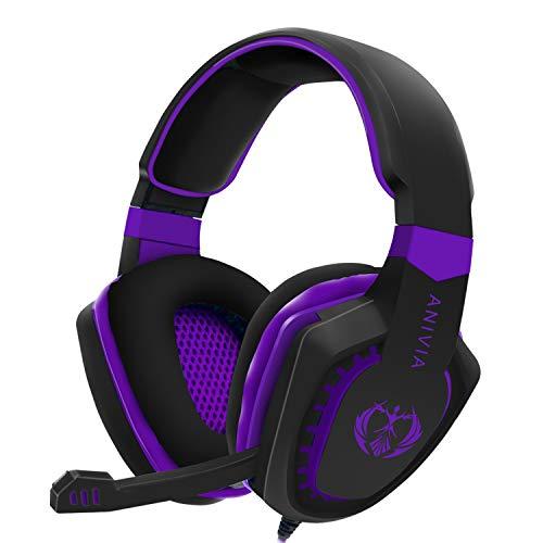 Gaming Headset für PC PS4 Xbox One Tablet Mac Smartphone Gaming Kopfhörer mit Geräuschunterdrückung Mikrofon Bass Surround Weiche Memory-Ohrenschützer schwarz/violett AH28