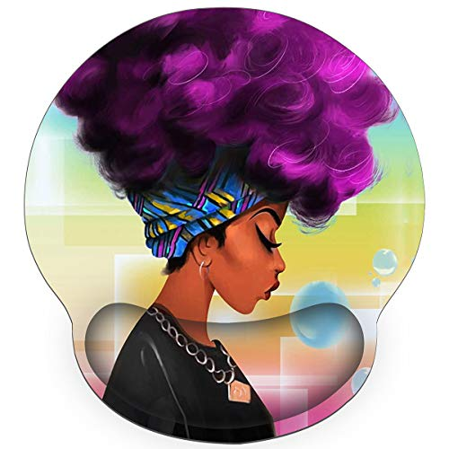 Britimes Ergonomic Mouse Pad with Wrist Support Purple Hair African American Women Non-Slip Rubber Base Mousepad for Home Office Gaming Working Computers Laptop Easy Typing & Pain Relief
