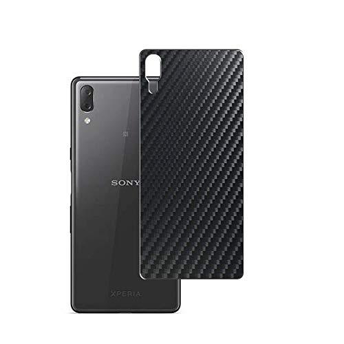 Vaxson 2 Unidades Protector de pantalla Posterior, compatible con Sony Xperia L3, Película Protectora Espalda Skin Cover - Fibra de Carbono Negro