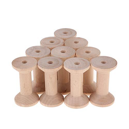 FLAMEER 10 Stück Garnspule Holzspule Dekospule Spule Holz Rundspulen 3,5 X 6 cm