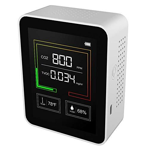 【国内発送】二酸化炭素測定器 CO2メーターモニター バッテリー内臓 検知アラーム 温度計 湿度計 ホルムアルデヒド検知 USB充電