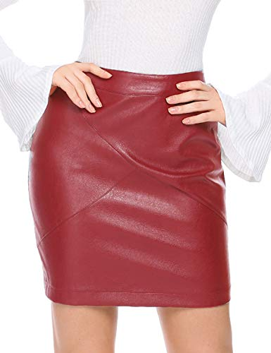 Zeagoo Women Classic High Waisted Faux Leather Sexy Bodycon Slim Mini Pencil Skirt, Small, Dark Red