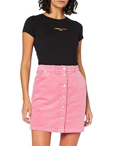 Tommy Jeans Damen Tjw Cord Button Thru Skirt Rock, Glamour Pink, S