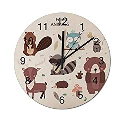 wendana pillow covers Cute Forest Animals Modern Wood Wall Clocks Decorative Non Ticking for Living Room Kids Bedrooms Birthday Christmas