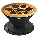 Paw Print Dog Paw Cute Dog Retriever Coffee Black Latte PopSockets Agarre y Soporte para Teléfonos y Tabletas