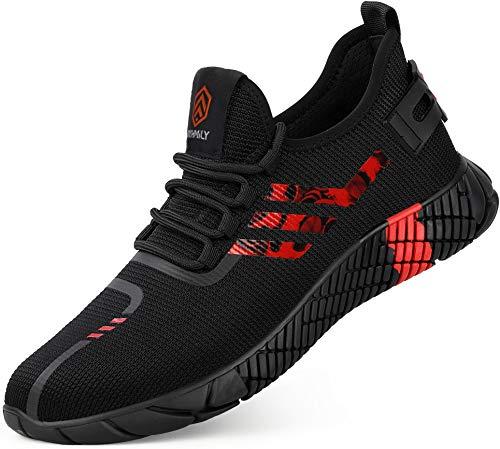 Kefuwu Zapatillas de Seguridad Hombre Ligero Transpirable Zapatos de Seguridad con Punta de Acero Calzado de Trabajo Comodo Verano (Negro Rojo, 44 EU)