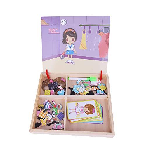 FakeFace Kreatives Magnetisches Holzpuzzle Pädagogisches Holzspielzeug Puzzle Lernspiel Spielzeug Magnettafel Anziehpuppe Kinderspielzeug Geschenk für Kinder Baby Junge Mädchen ab 2 3 4 5 Jahre