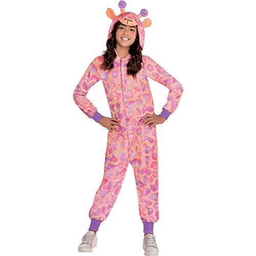 Party City Giraffe Zipster Halloween Costume for Girls, Medium (8-10), Hooded Onesie, Peach, Pink and Purple