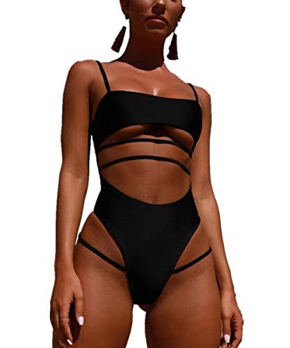 DHHY Bikini für Frauen hohe Taille Black Badeanzug Bademode Push Up Einteiliger Badeanzug Black XL